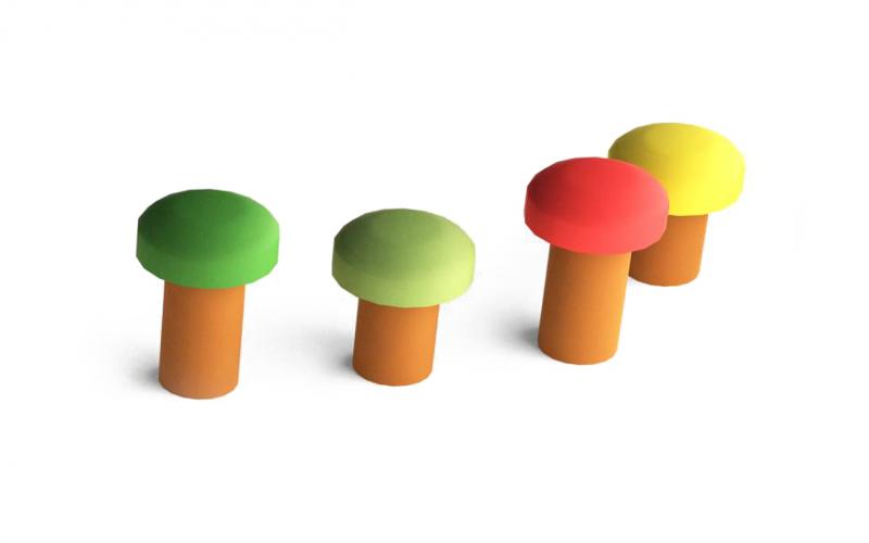 3D gumiburkolatú gomba